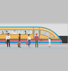 Subway metro platform with train and people in vector