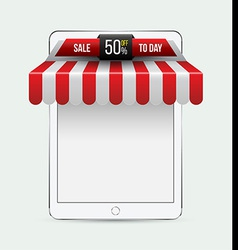 Tablet with awning mobile store concept vector