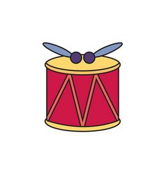 Toy drum with sticks fill style icon vector