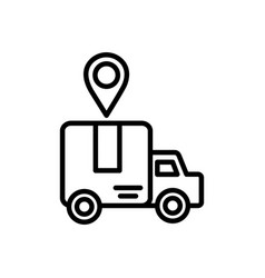 truck location pointer delivery icon thick line vector image