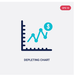 two color depleting chart icon from business and vector image