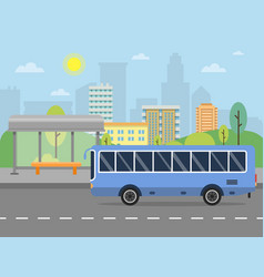 Urban landscape with of public bus vector
