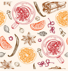 Vintage hand drawn seamless pattern with mulled vector