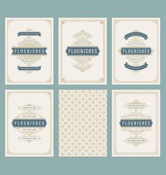 vintage ornament greeting cards set vector image