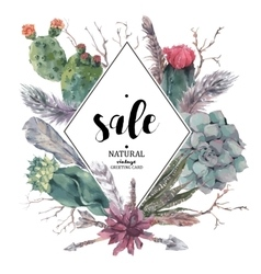 Vintage sale card with branches and succulent vector