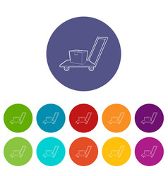 warehouse trolley icons set color vector image