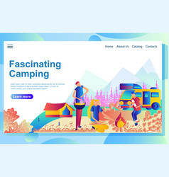 web page design template for camping cartoon vector image