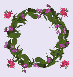 Wreath of delicate orchids vector