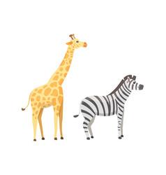 african animals cartoon set giraffe zebra vector image