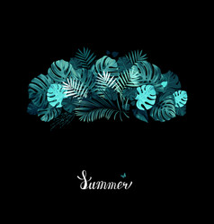 banner with tropical palm and monstera leaves on vector image