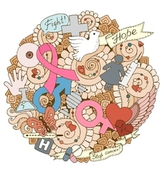 Breast cancer awareness month colorful doodle vector
