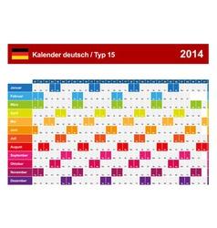 Calendar 2014 German Type 15 vector image vector image