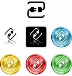 connecting cable plug icon symbol vector image vector image