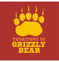 Footprint grizzly bear - vector