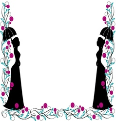 frame backgroung vintage silhouette vector image vector image