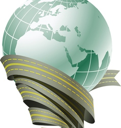 Globe surrounded by roads vector image