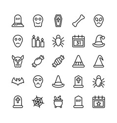 halloweenparty and celebration line icon 23 vector image vector image