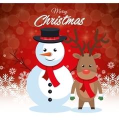 postcard merry christmas snowman and reindeer vector image