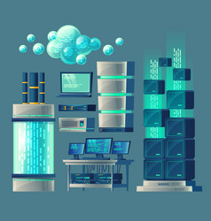 set of equipment for data storage vector image