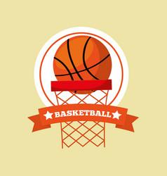 basketball hoop ball game sport emblem vector image