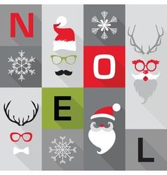 Christmas Retro Card - with Santa hats masks vector image