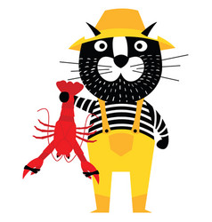 cool cartoon cat like fisherman holding lobster vector image vector image