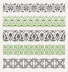 Decorative seamless ornamental borders set vector image vector image