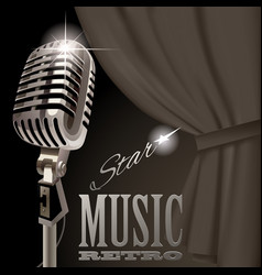 retro microphone on the curtain background in vector image vector image