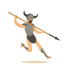 warrior character man in combat armor and horned vector image vector image