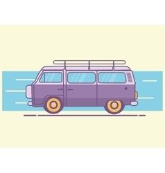 car van line art retro vintage vector image vector image