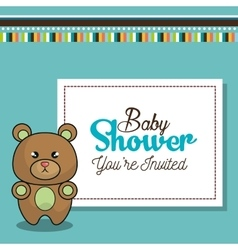 Invitation baby shower card with bear desing vector