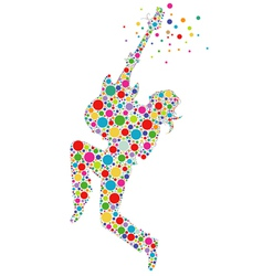 rock star guitarist colorful silhouette vector image