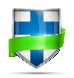 Shield with flag Finland and ribbon vector image vector image