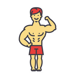 strong man bodybuilder muscles concept line vector image