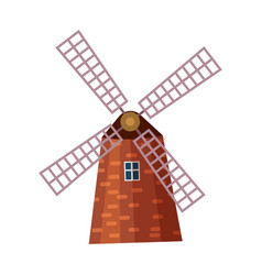 traditional old windmill building icon vector image