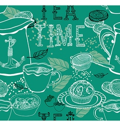 Vintage tea background vector image vector image
