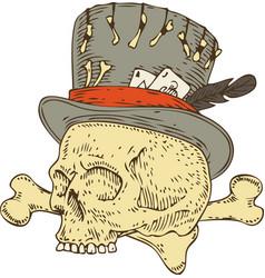 voodoo skull in old hat vector image