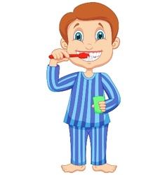 Cute little boy cartoon brushing teeth vector image