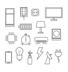 electronics icon set on white background vector image vector image