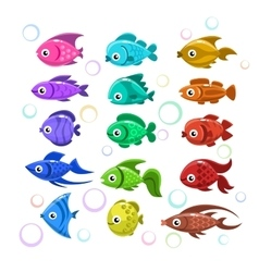 Funny colorful fishes vector image vector image