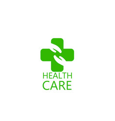 Logo cross and hands health vector