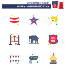 9 flat signs for usa independence day usa vector