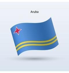 Aruba flag waving form vector image