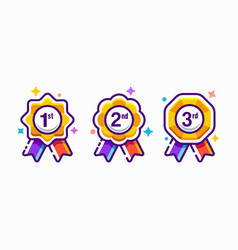 Award winner colorful badge medals icon set vector