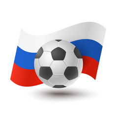 Ball for soccer with russian flag vector