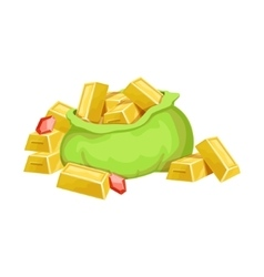 Big Sack With Golden Bars And Rubies Hidden vector image