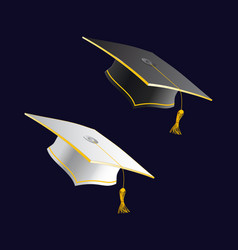 Black and white student caps graduation hat vector