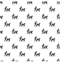 Blind boy dog guide pattern seamless vector