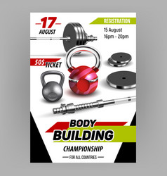 Body building championship advertise banner vector