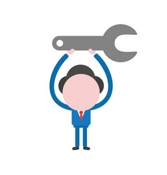 businessman character holding up spanner vector image